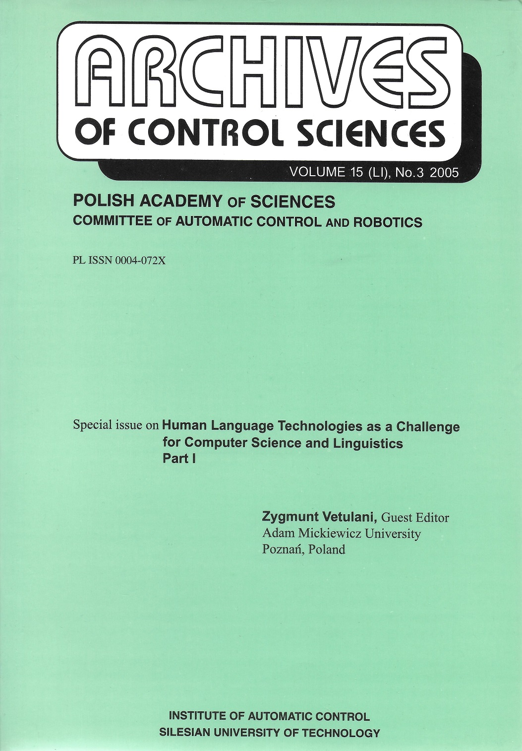 Archives Of Control Sciences
